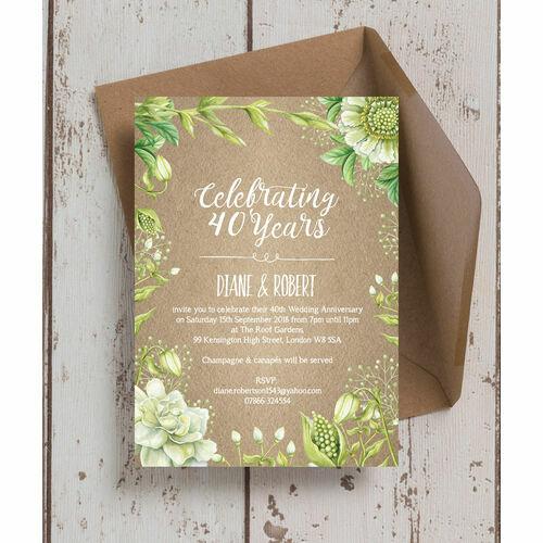 Personalised 40th ruby wedding anniversary invitations rustic greenery 40th ruby wedding anniversary invitation stopboris Gallery