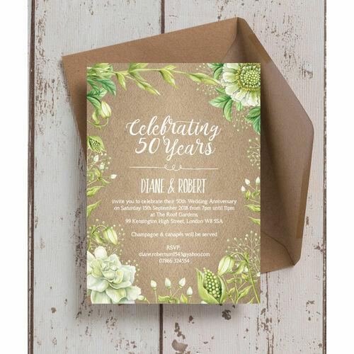 Personalised 50th golden wedding anniversary invitations rustic greenery 50th golden wedding anniversary invitation stopboris Images