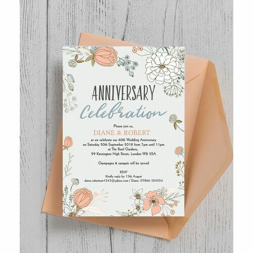 Wild Flowers 60th / Diamond Wedding Anniversary Invitation ...