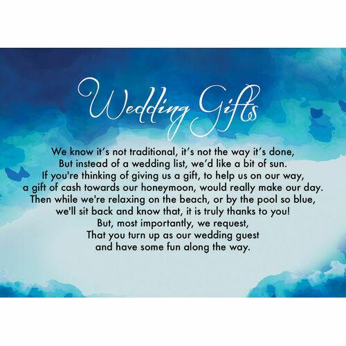 Wedding Gift Poem Cards: Wedding Gift Wish Poem Cards