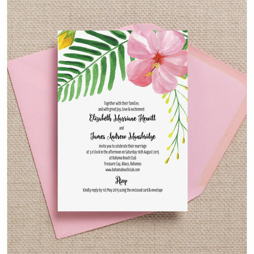 Tropical beach pink hibiscus floral flowers destination wedding invitations invites printed printable 2g tropical flower destination wedding invitation junglespirit Image collections