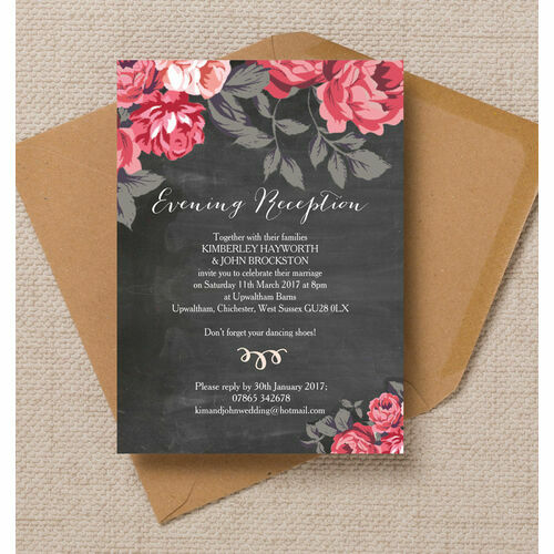Personalised evening wedding invitations rustic floral evening reception invitation junglespirit Choice Image