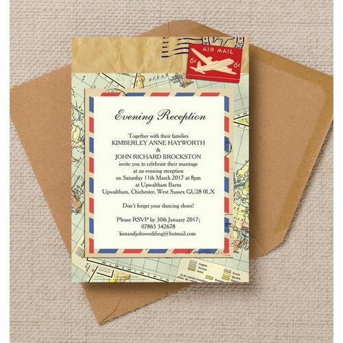 Airmail Wedding Invitations: Vintage Airmail Wedding Invites & Stationery