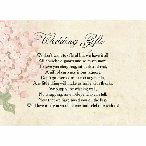Wedding Gift Wish Poem Cards
