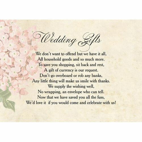 Wedding Gift Honeymoon Poem: Wedding Gift Wish Poem Cards
