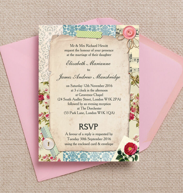 Vintage Scrapbook Wedding Invitation from £1.00 each