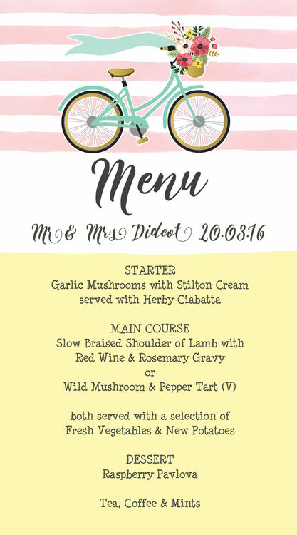 Spring Pastels Vintage Bicycle Wedding Menu Card From  Each