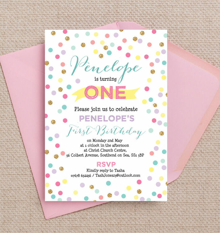 Pastel confetti childrens birthday party invitation from 080 each pastel confetti childrens birthday party invitation additional 1 filmwisefo