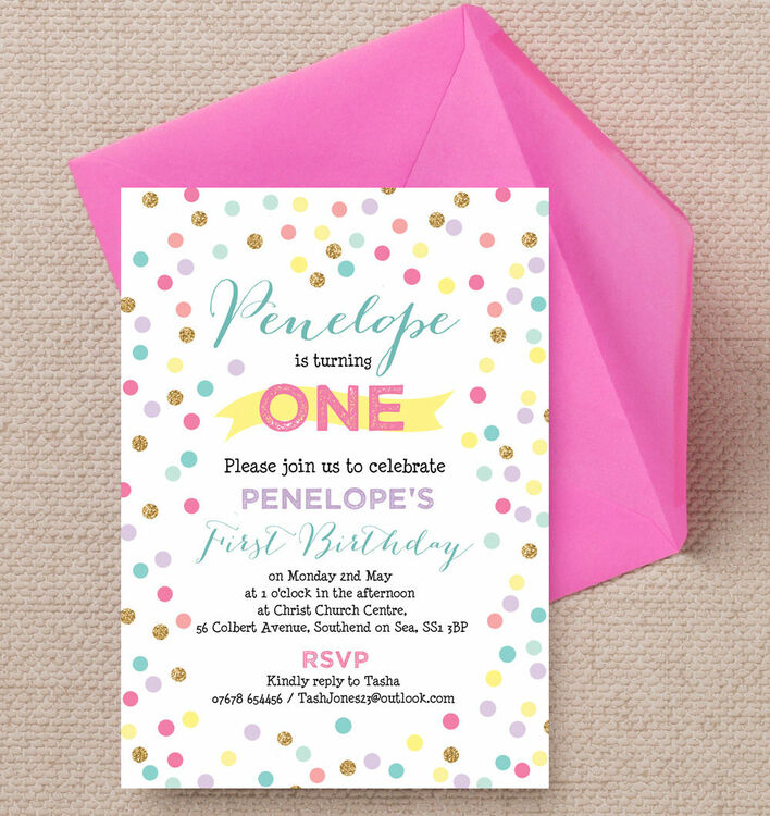 2 Pastel Confetti Childrens Birthday Party Invitation Additional 3