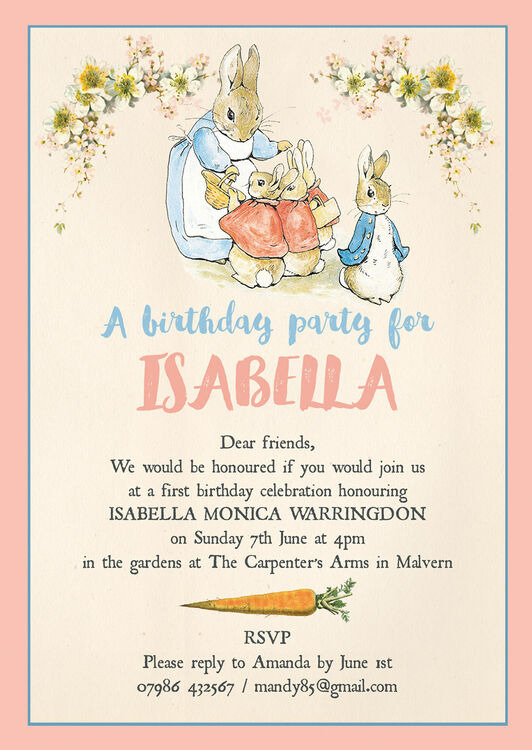 Flopsy Bunnies Beatrix Potter Birthday Party Invitation From 080 Each