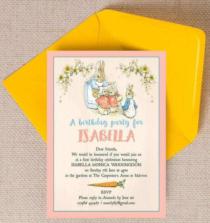 Flopsy Bunnies Beatrix Potter Birthday Party Invitation from £0.80 each