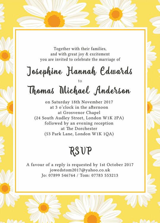 Yellow White Daisy Wedding Invitation from 100 each