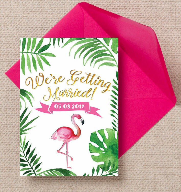 flamingo fiesta tropical wedding invitation from 1 00 each