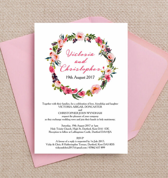 Pink Peony Watercolour Wedding Invitation from £1.00 each