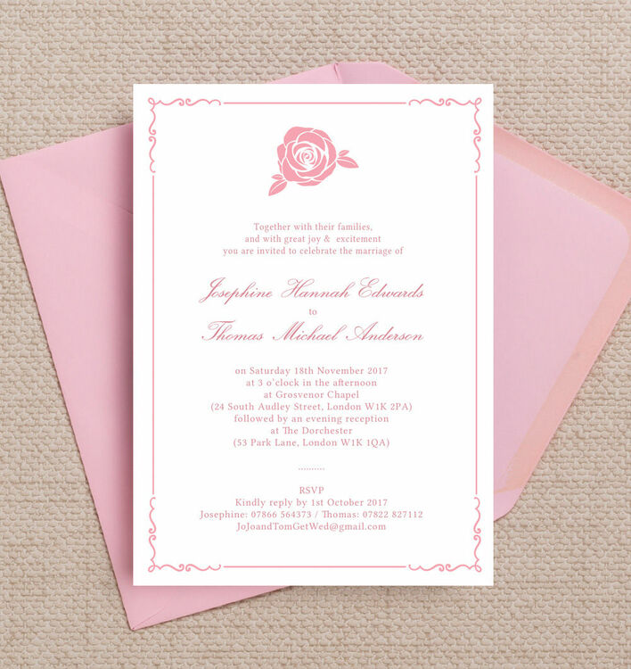 Classic Pink Rose Wedding Invitation from £1.00 each