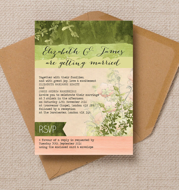 Wild Garden Wedding Invitation from £1.00 each