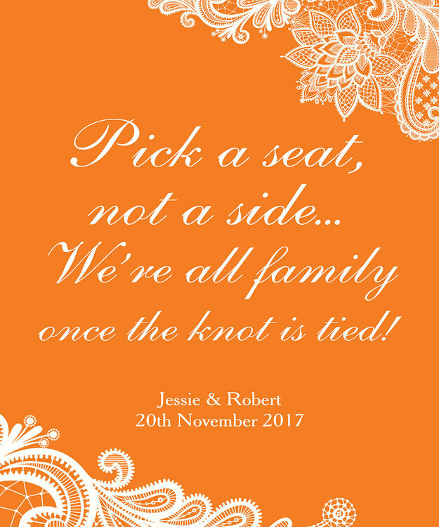 f07d359ddad11a ...  Pick a Seat not a Side  Romantic Lace Wedding Poster additional 3   ...
