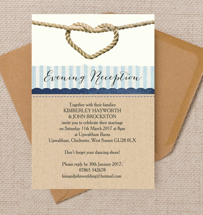 wedding reception only invitations nautical knot evening reception invitation from 163 0 85 each 9905