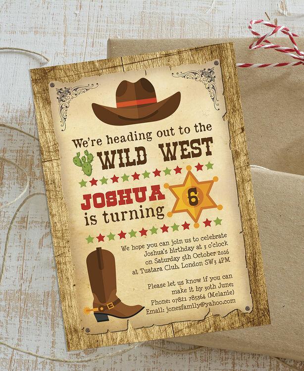 cowboy wild west birthday party invitation from  u00a30 80 each