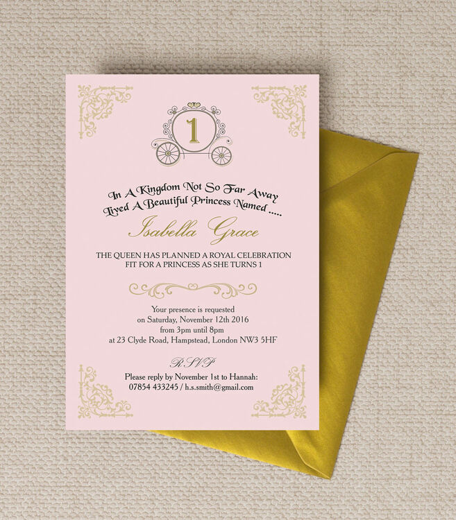 Enchanted Pink & Gold Princess Party Invitation from £0.80 each