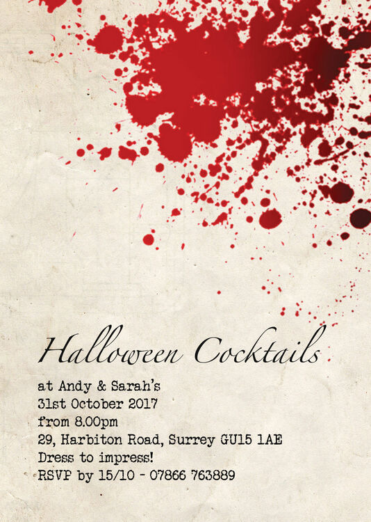 Vintage Blood Personalised Halloween Party Invitation Additional 1 2