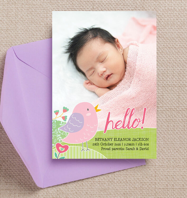 baby bird personalised birth announcement photo card