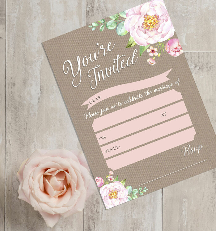 Pack of 10 Vintage Floral Wedding Invitations from 400 each