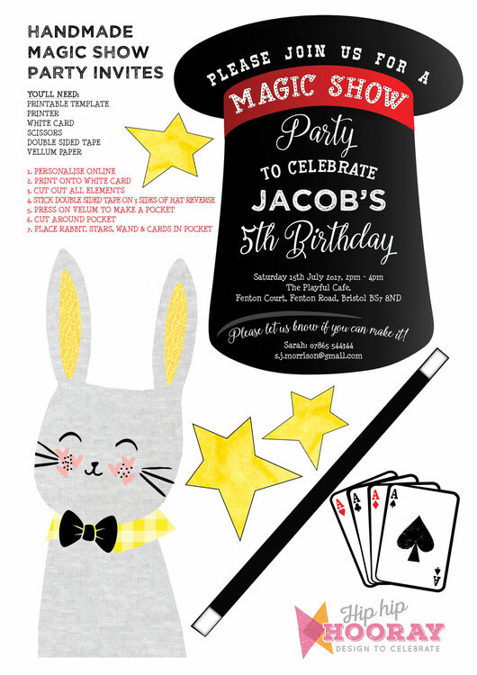 Handmade Magic Show Printable Party Invitation From 0 80 Each