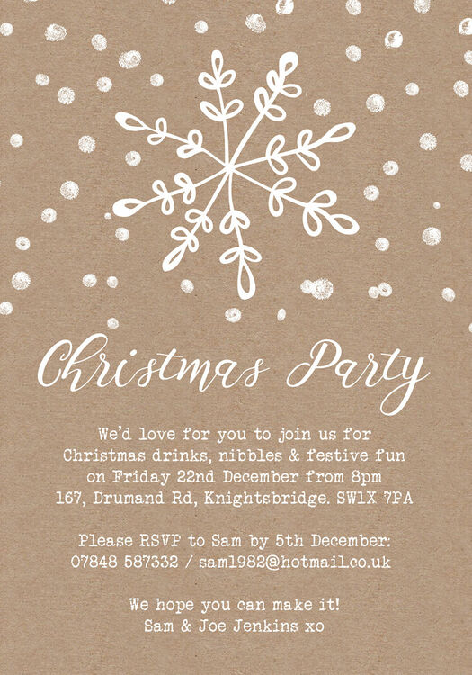 rustic kraft snowflake christmas party invitation from 0 75 each