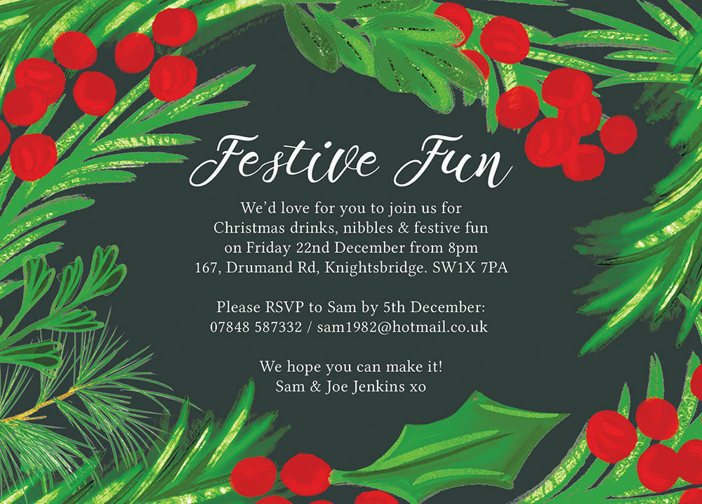 Christmas Invitation.Hand Painted Leaves Berries Christmas Party Invitation