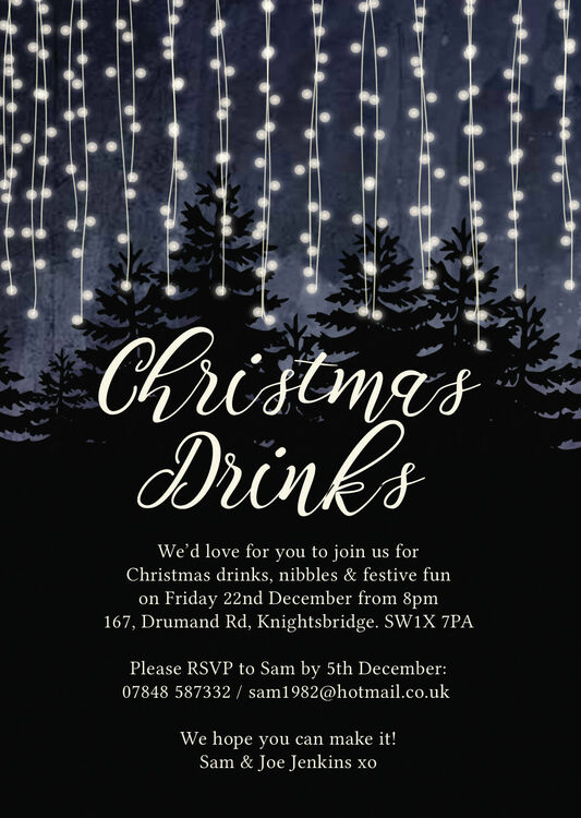 Forest Fairy Lights Personalised Christmas Party Invitation
