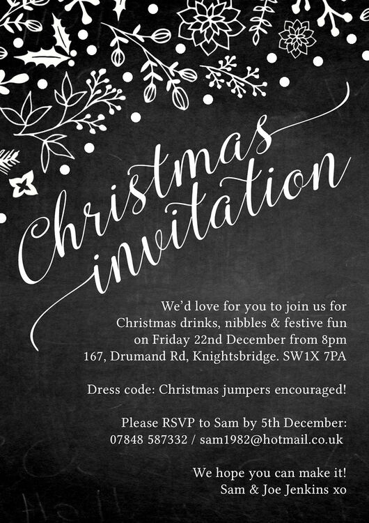 Chalkboard Style Personalised Christmas Party Invitation From 0 75 Each