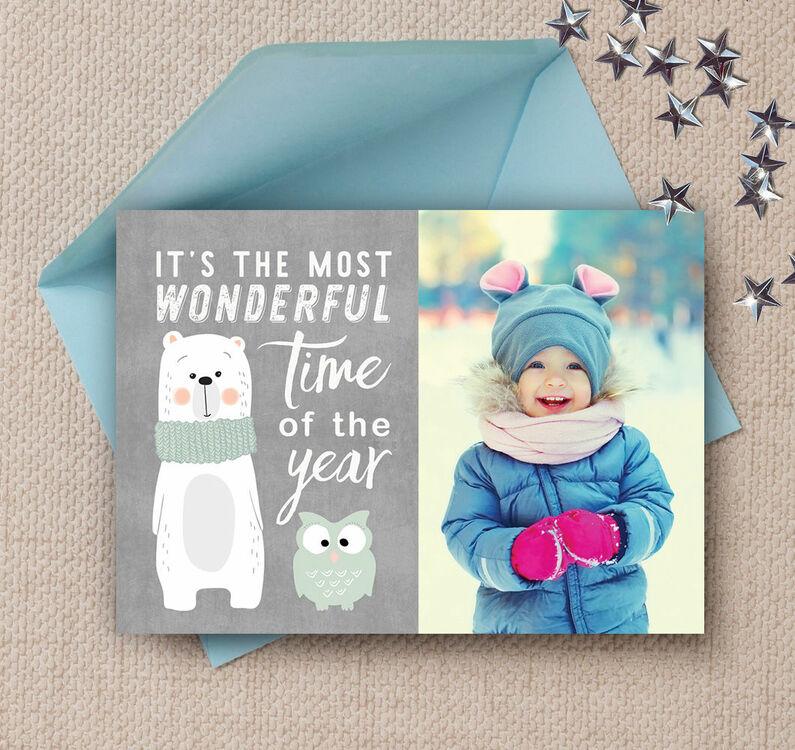 Cute Christmas Cards.Cute Bear Owl Photo Christmas Card