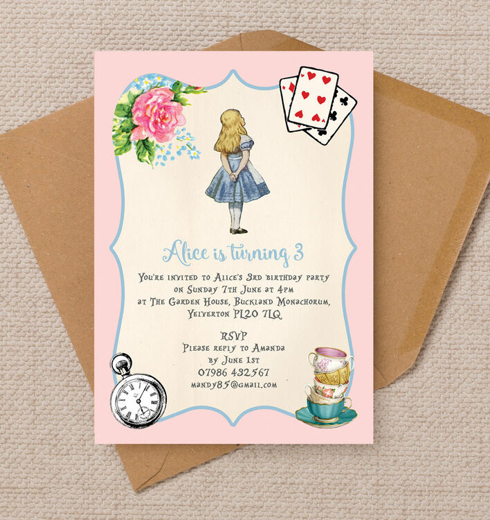 Pink & Blue Alice in Wonderland Birthday Party Invitation from £0.80 ...