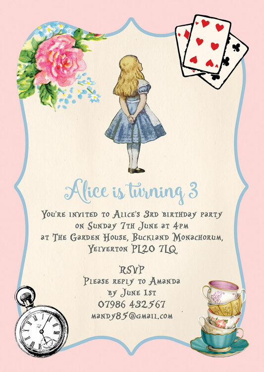 Pink blue alice in wonderland birthday party invitation from 080 pink blue alice in wonderland birthday party invitation additional 4 filmwisefo Image collections