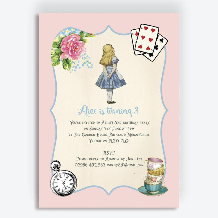 Pink Blue Alice In Wonderland Birthday Party Invitation Additional 1