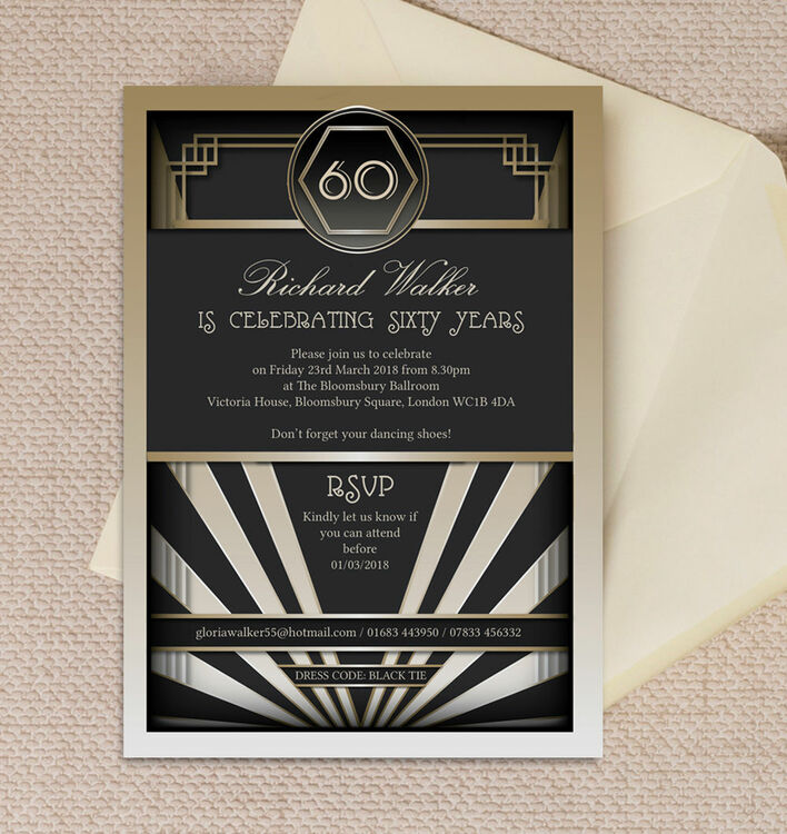 Black & Gold Art Deco 60th Birthday Party Invitation from £1.00 each