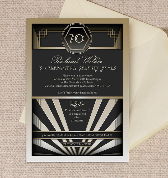 Black gold art deco 70th birthday party invitation from 090 each black gold art deco 70th birthday party invitation filmwisefo