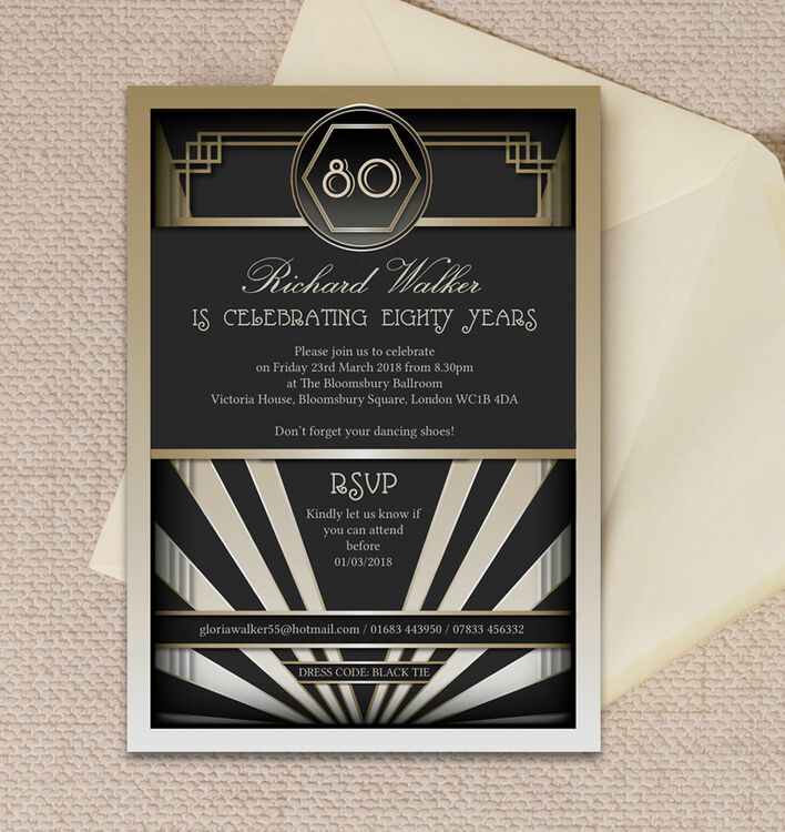 Black & Gold Art Deco 80th Birthday Party Invitation from £1.00 each