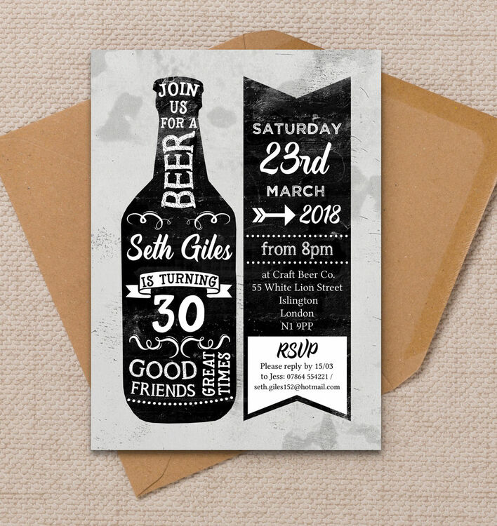 Beer Themed 30th Birthday Party Invitation