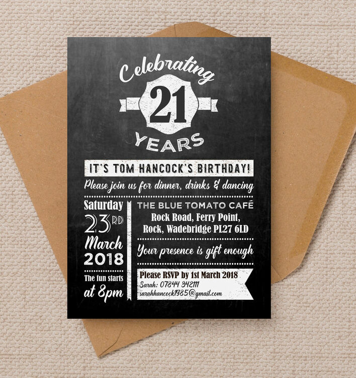 Chalkboard Typography 21st Birthday Party Invitation from £1.00 each