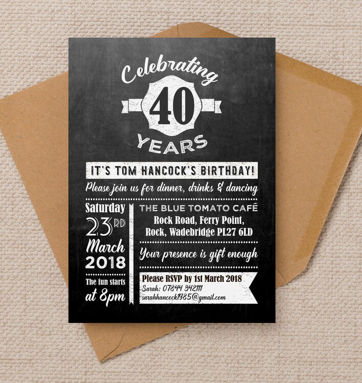 Chalkboard Typography 40th Birthday Party Invitation From 090 Each
