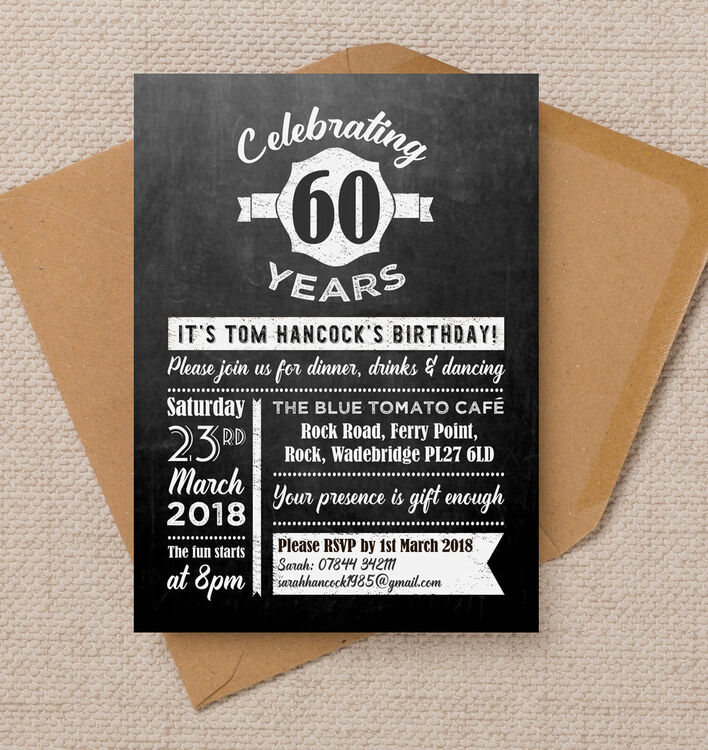 Chalkboard typography 60th birthday party invitation from 090 each chalkboard typography 60th birthday party invitation filmwisefo