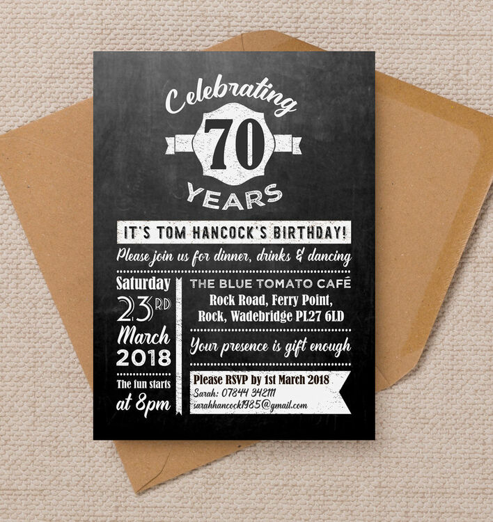 Chalkboard Typography 70th Birthday Party Invitation