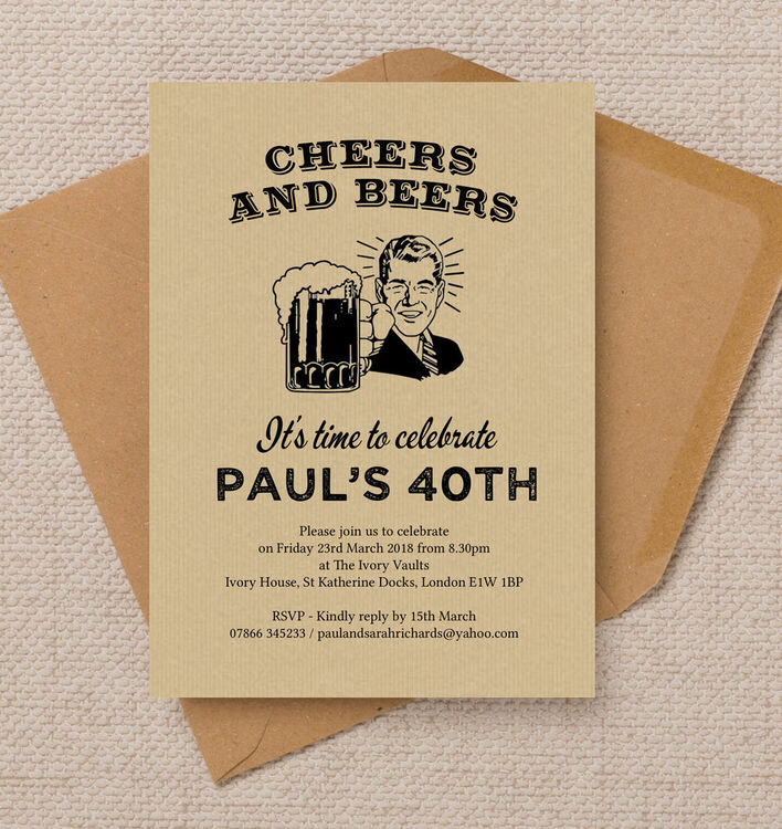 Cheers Beers Retro 40th Birthday Party Invitation