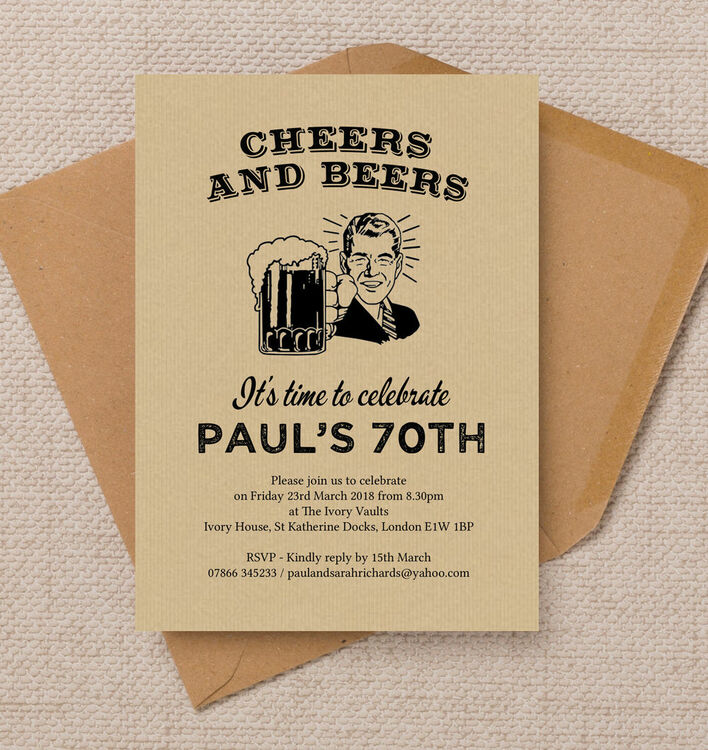 Cheers & Beers\' Retro 70th Birthday Party Invitation from £1.00 each