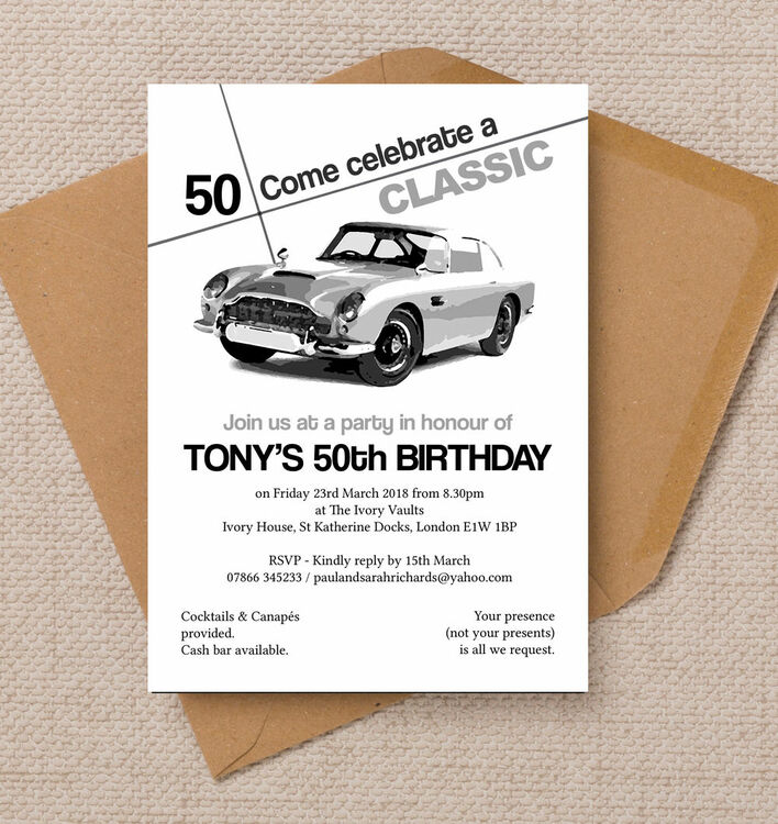 Stylish Classic Car 50th Birthday Party Invitation from £0.90 each