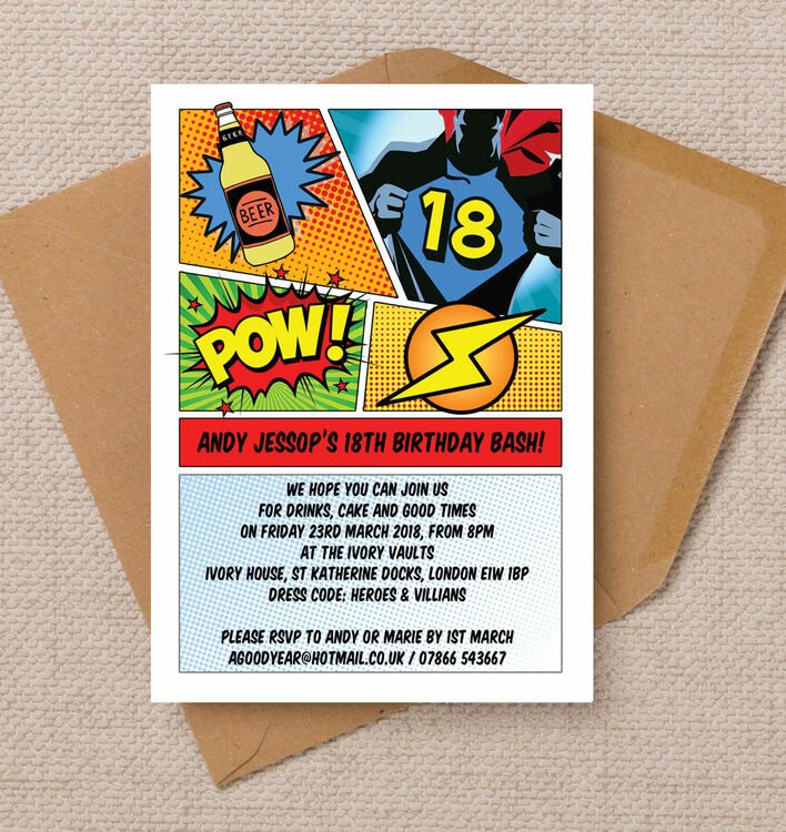 comic book inspired superhero 18th birthday party invitation from