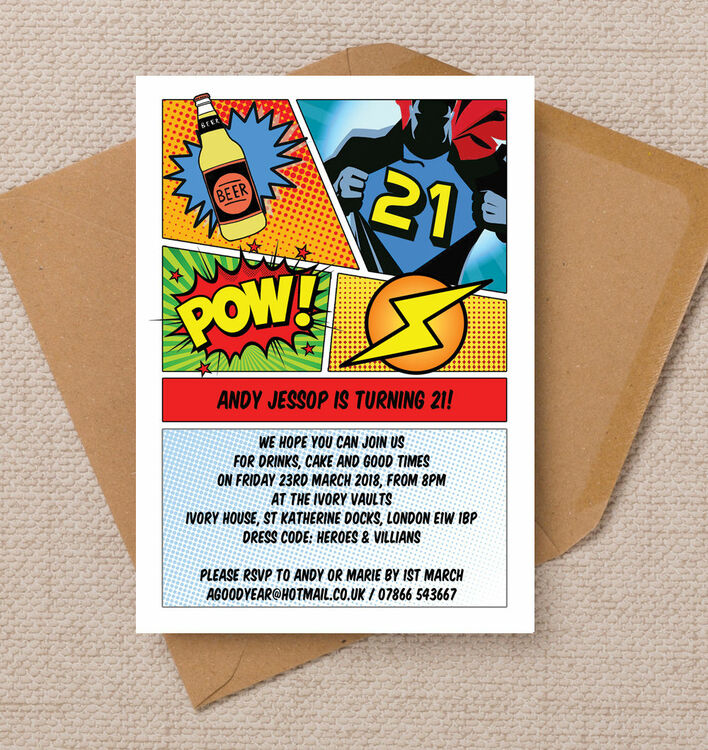 Comic Book Inspired Superhero 21st Birthday Party Invitation from ...