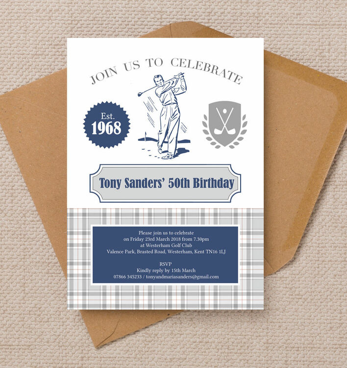 Golf Themed 50th Birthday Party Invitation from £1.00 each